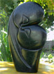 African Sculpture - Kissing Lovers, 12 H Golden Serpentine Stone
