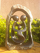 Family of 3 - inscribed Natural, Stone Sculpture 12 H