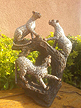 Family of 3 Leopard, Stone Sculpture 11H
