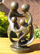 African Sculpture - Family of Four, 10H Shona Stone