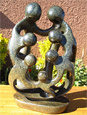 African Sculpture - Stone Family 7 heads, 12H Shona Stone