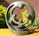 African Sculpture - Family of Four Circle, 12H Shona Stone