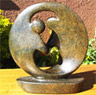 African Sculpture - Dancing Couple, 8H Shona Stone