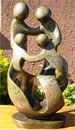 African Sculpture - Family of Four, 15H Shona Stone