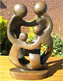 African Sculpture - Family of Four, 12H Shona Stone