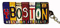 Boston License Keychain - Metal