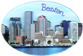 Boston City Skyline Souvenir Magnet - Oval