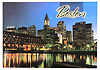Boston's City Skyline View At Night Souvenir Postcard, 6x4