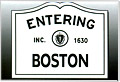 Entering Boston Sign Souvenir Metal Magnet