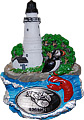 Boston Lighthouse Magnet with Pewter Emblem