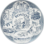 Boston Souvenir Plate in Delft Blue