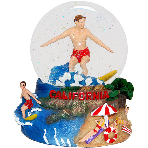Surfer in Snow Surfer Musical Snow Globe
