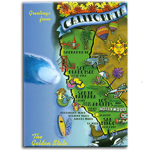 California State Magnet Map Of The Golden State