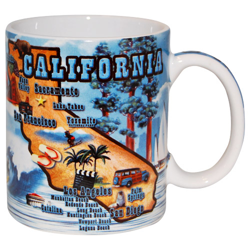 889753c6cea1 California Souvenir Mug with State Map Tourist Attractions