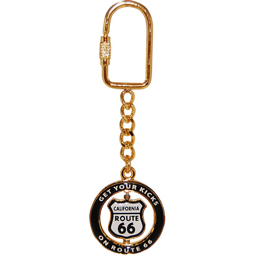 Route 66 Shield Spin Key Chain Gold