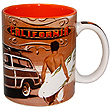 Ceramic Mug with California Old Time Surfing Icon