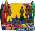 Newport Beach, California Souvenir Magnet - Beach Surfers