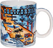 California Souvenir Mug with State Map/Tourist Attractions