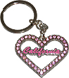 California Souvenir Heart Shaped Keychain with Pink Rhinestones