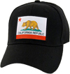 California Republic Bear Flag Baseball Cap, Black
