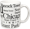 Chicago White Coffee Mug with Black Letters