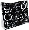 Chicago City B/W Letter Tote Bag, Large