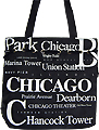 Chicago Canvas Tote Bag with Top Zipper, 14.5H