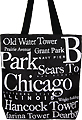 Chicago Souvenir Letter Canvas Tote Bag, 14.5 H