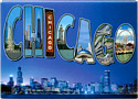 Chicago Post Card Souvenir Metal Magnet