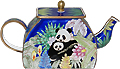 Pandas and Bamboo Miniature Teapot