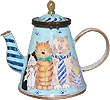 Cats In Ties Hinged Miniature Teapot