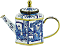 Blue & White Miniature Teapot with Chinese Paintings