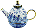Blue & White Miniature Teapot with Art Painting