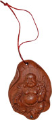 Happy Buddha on Lotus Leaf Wooden Charm Pendant