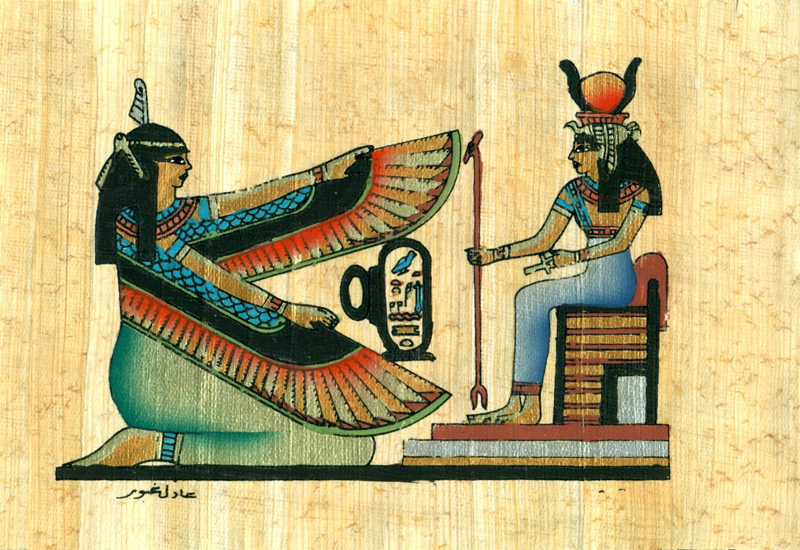 Maat Amp Hathor 4 25 Quot X6 25 Quot Papyrus Painting