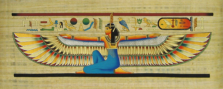 Winged Maat 12 Quot X32 Quot Papyrus Painting