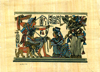 King Tut & his wife hunting, 4.25 x6.25  Papyrus Painting