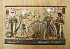 King Tut & Queen Hunting - Papyrus Painting, 12 x16