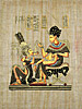 King Tutankhamon & His Wife 12x16, Papyrus Painting