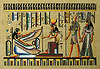 Queen Nefertiti guided by God Horus, 12 x16  Papyrus Painting