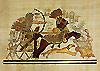 King Tutankhamon Hunting Ostriches 12x16 Papyrus Painting