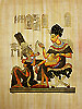 King Tutankhamon and His Wife 16 x12  Papyrus Painting