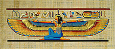 Winged Maat Large Papyrus Painting, 16x36
