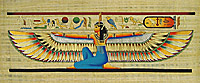 Winged Maat Papyrus Painting, 12 x32