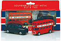 Die-Cast London DD Bus & Black Taxi Set