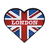 Union Jack London Glitter Heart Rubber Magnet