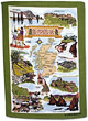 Scotland Scenes Tea Towel with Green Border Design