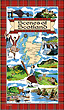 Scotland Scenes Tea Towel with Red Tartan Border Design