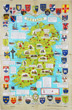 Historical Map of Ireland - Linen Tea Towel