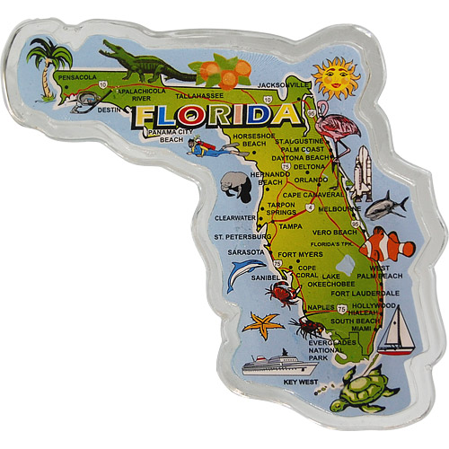 Florida State Map.Large Florida State Map Fridge Magnet In Acrylic